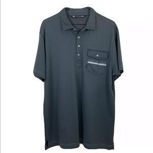 Travis Mathew Men's Polo Gray Shirt Sz L